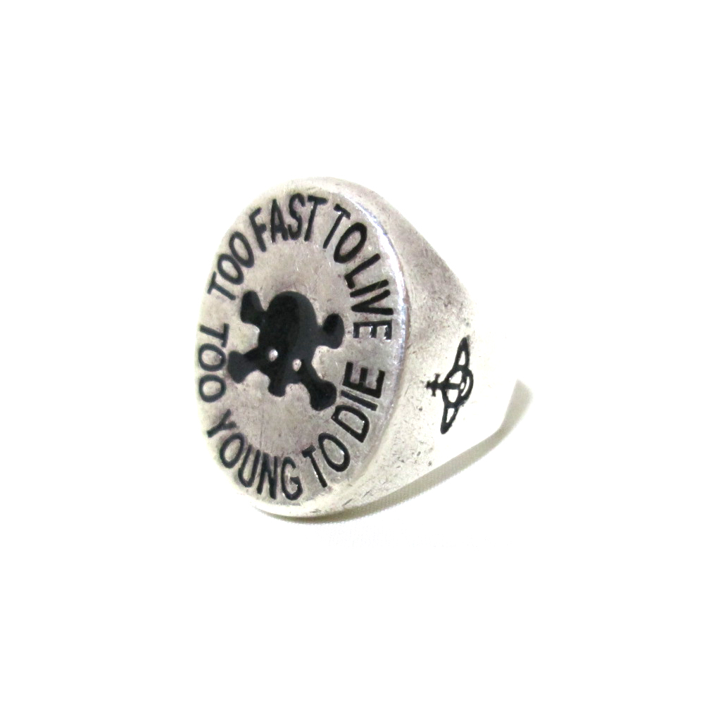 廃盤 Vivienne Westwood ヴィヴィアンウエストウッド TO FAST TO LIVE スカルリング (シルバー ドクロ シールリング 指輪) 123040 【中古】