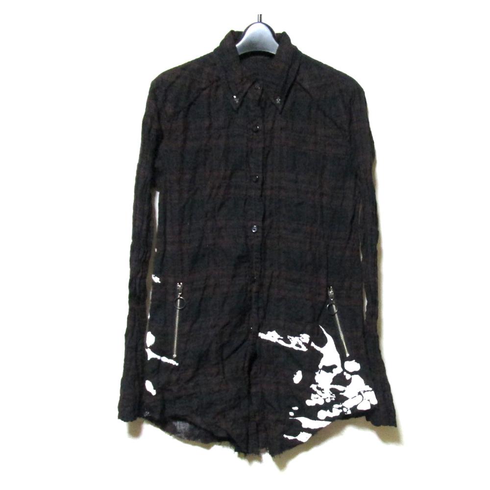 美品 KMRii ケムリ 「0」 タータンチェックドリップネルシャツ (黒) 123167 【中古】
