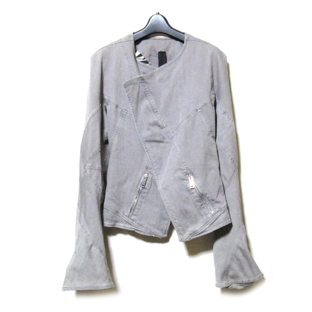 Gareth Pugh ガレス ピュー 「I44」 イタリア製 変形ライダースジャケット (デニム 黒 ブラック) 123223 【中古】