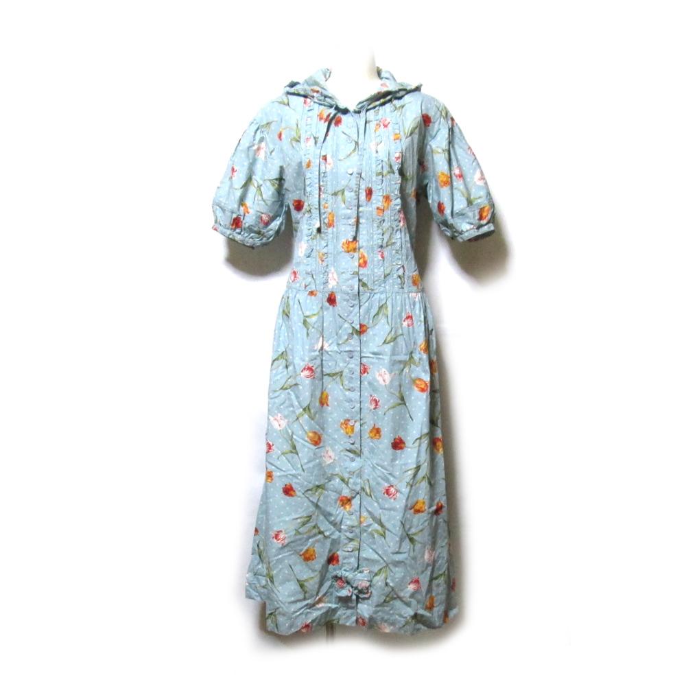Vintage PINK HOUSE ヴィンテージ ピンクハウス ボリュームフードレースロングワンピース (花柄 金子功 マキシ丈 ドレス) 123601 【中古】