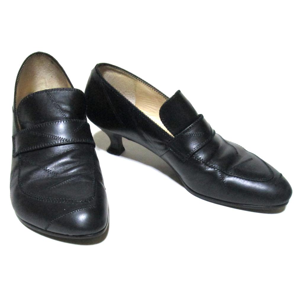 廃盤 Jean Paul GAULTIER ジャンポールゴルチエ 「4 1/2」 レザーステッチヒールパンプス (靴 黒 皮 革 シューズ) 123835 【中古】