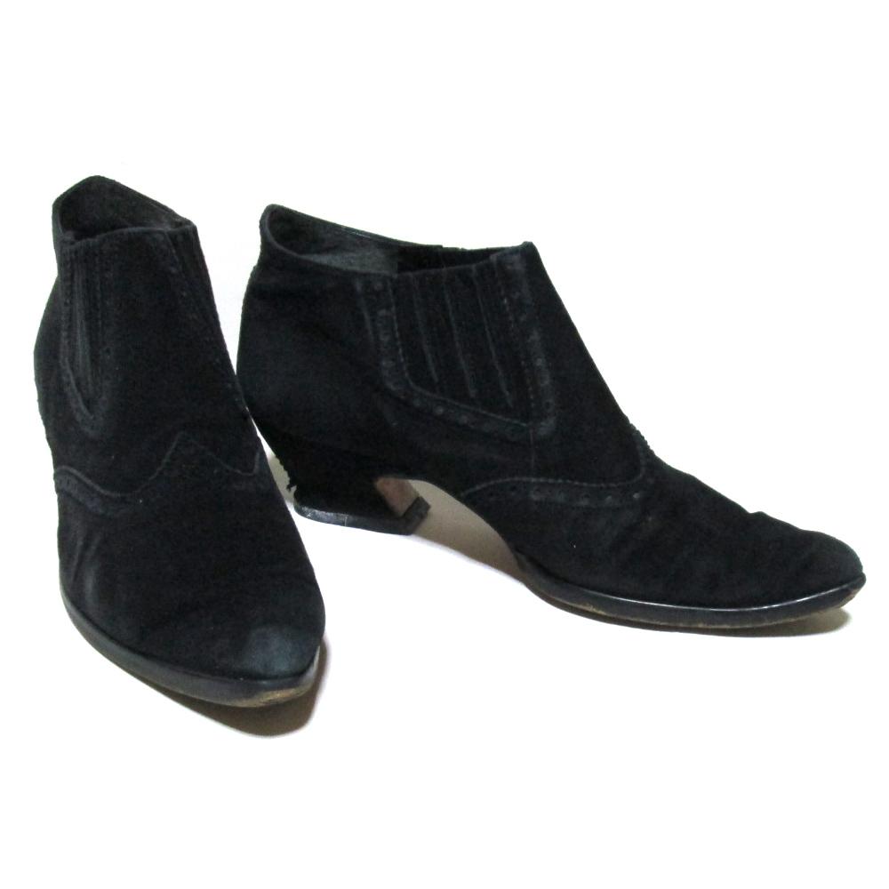 廃盤 Jean Paul GAULTIER ジャンポールゴルチエ 「3 1/2」 スエードレザーヒールブーツ (黒 ブラック 皮 革 靴) 123852 【中古】