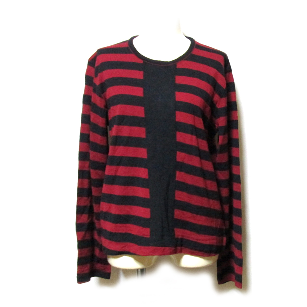 美品 robe de chambre COMME des GARCONS ローブ ド シャンブル コムデギャルソン 1995 斜行ボーダーニットセーター (赤 黒) 123948 【中古】