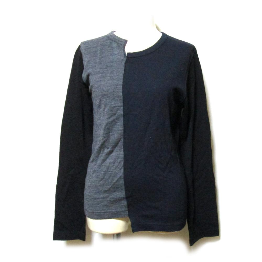 美品 COMME des GARCONS×H &M コムデギャルソン×エイチアンドエム 「XS」 ドッキングニットセーター (紺 グレー) 123949 【中古】