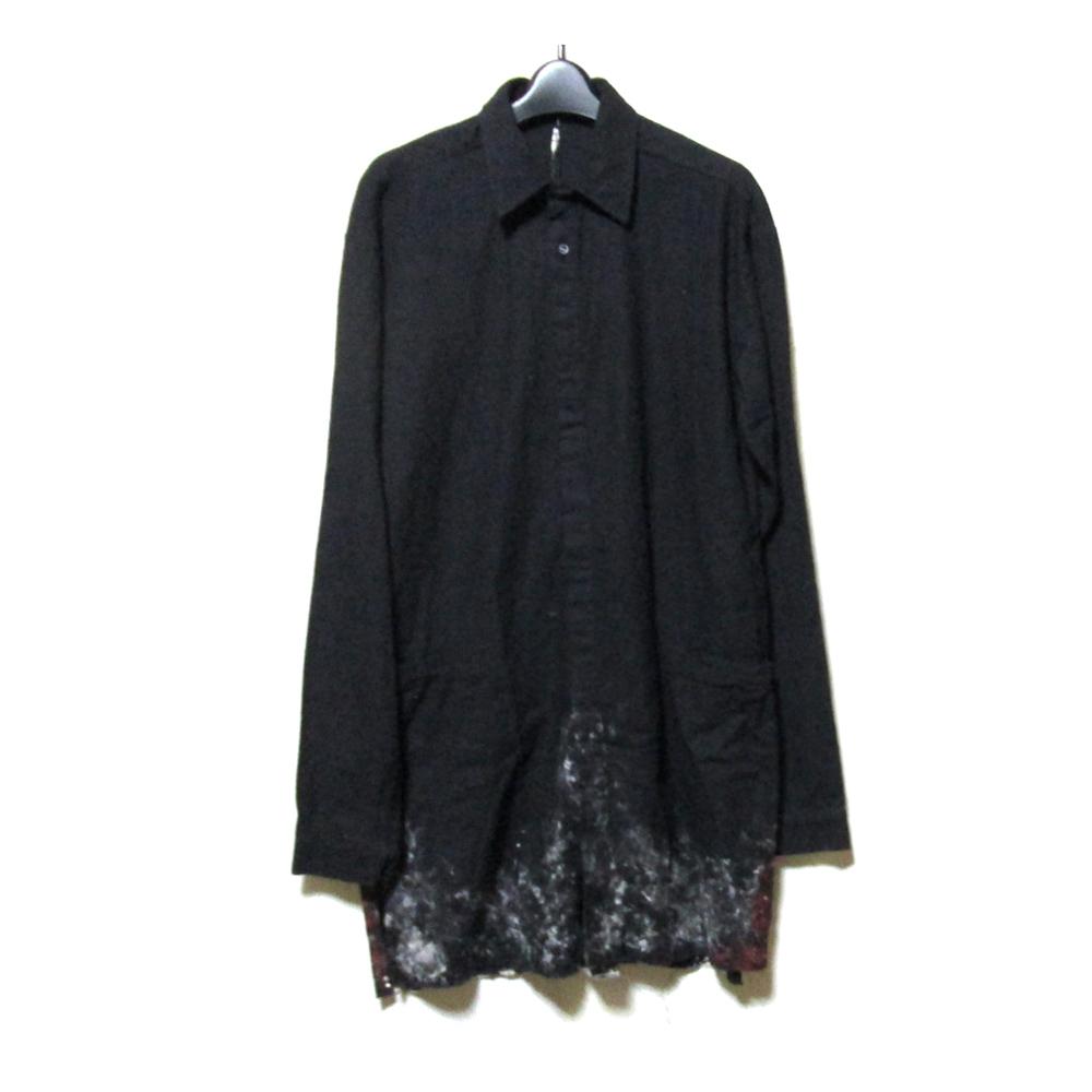美品 KMRii ケムリ 「1」 ロングブリーチデザインシャツ (黒 長袖) 123980 【中古】