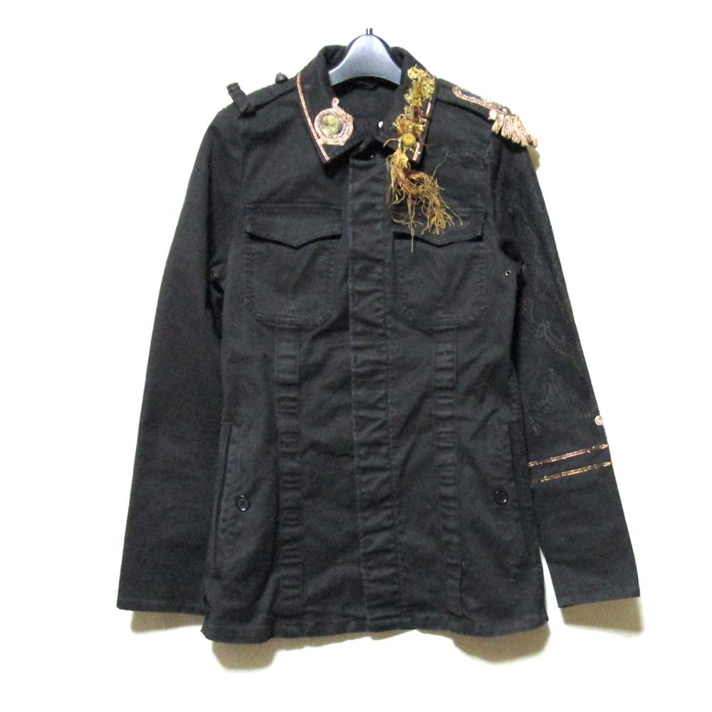 SHARE SPIRIT シェアースピリット 「S」 ミリタリーゴシック装飾ジャケット (黒 ヴィンテージ) 123988 【中古】