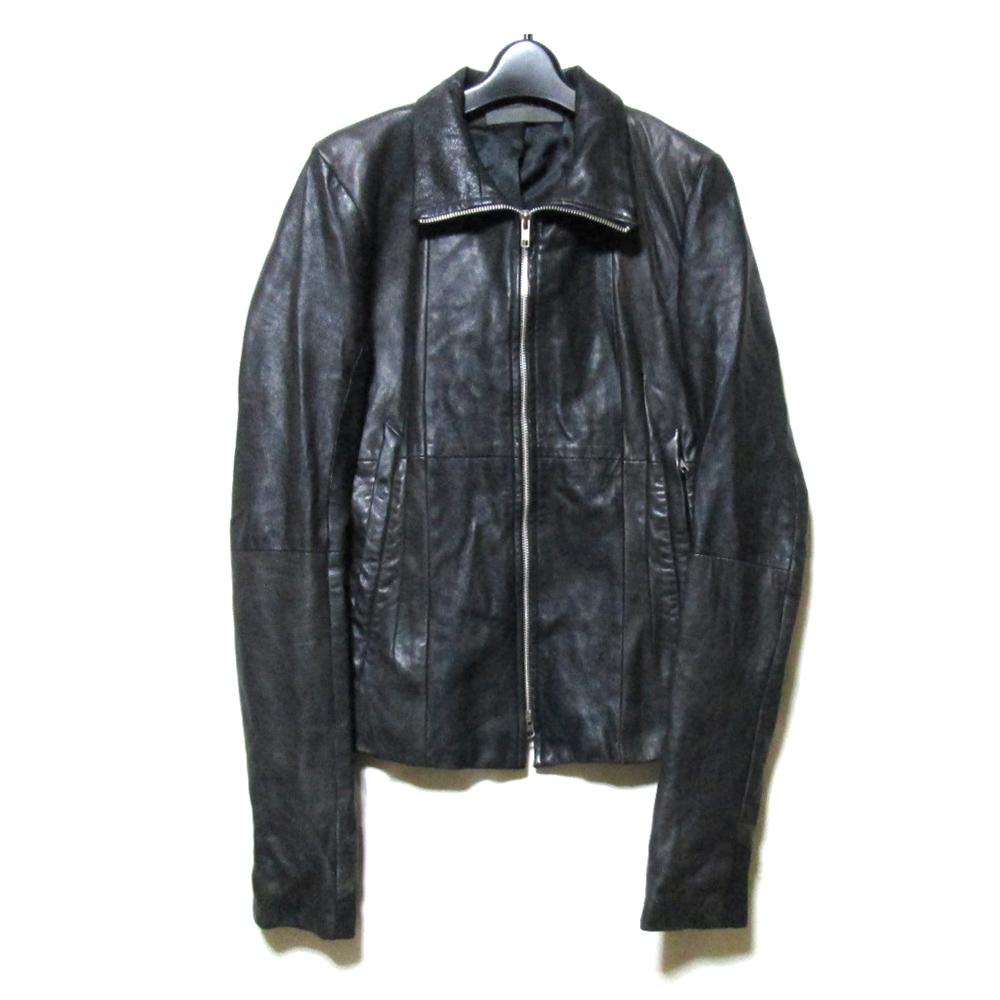 美品 EKAM エカム 「M」 シープスキンレザーワイダースジャケット (黒 皮 革 フルジップ) 123991 【中古】
