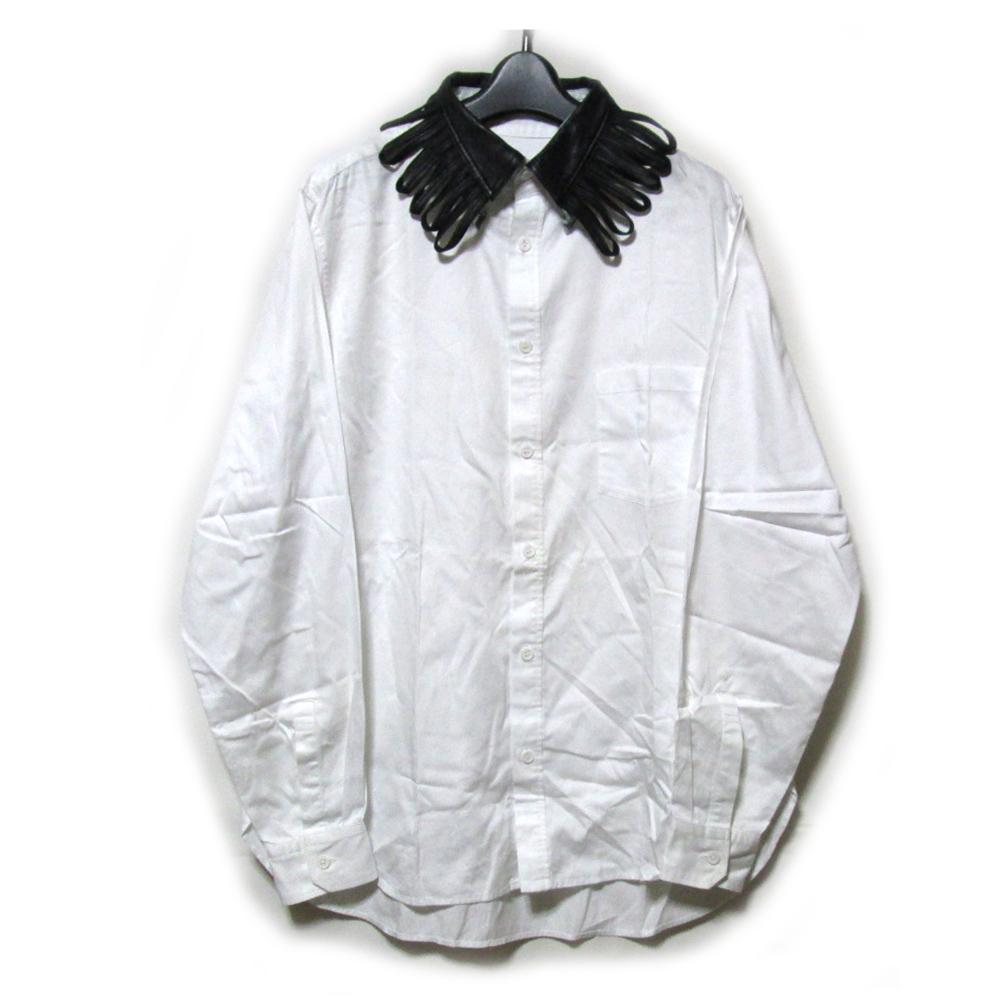 Yohji Yamamoto POUR HOMME ヨウジヤマモト プールオム 「3」 レザーカラーシャツ (白 レザー 山本耀司 ワイドシルエット) 124016 【中古】