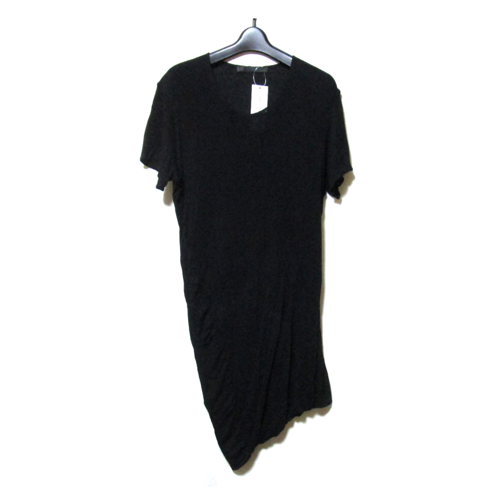 【新古品】 JULIUS ユリウス アシンメトリーTシャツ (未使用 MA 半袖 黒 ブラック) 124122 【中古】