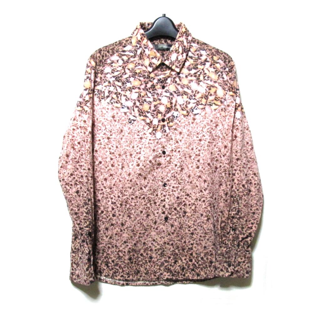 美品 maxsix マックスシックス 「M」 スカルフラワーネルシャツ (ピンク ドクロ ユニセックス) 124209 【中古】