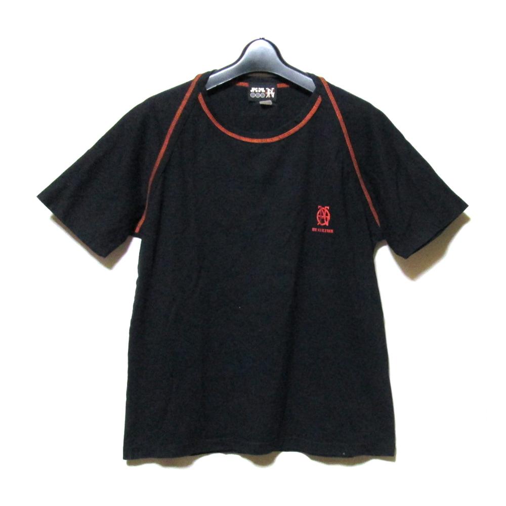 Jean Paul GAULTIER HOMME ジャンポールゴルチエ オム 「48」 ラグランロゴTシャツ (黒 ブラック ゴルチェ ) 124689 【中古】