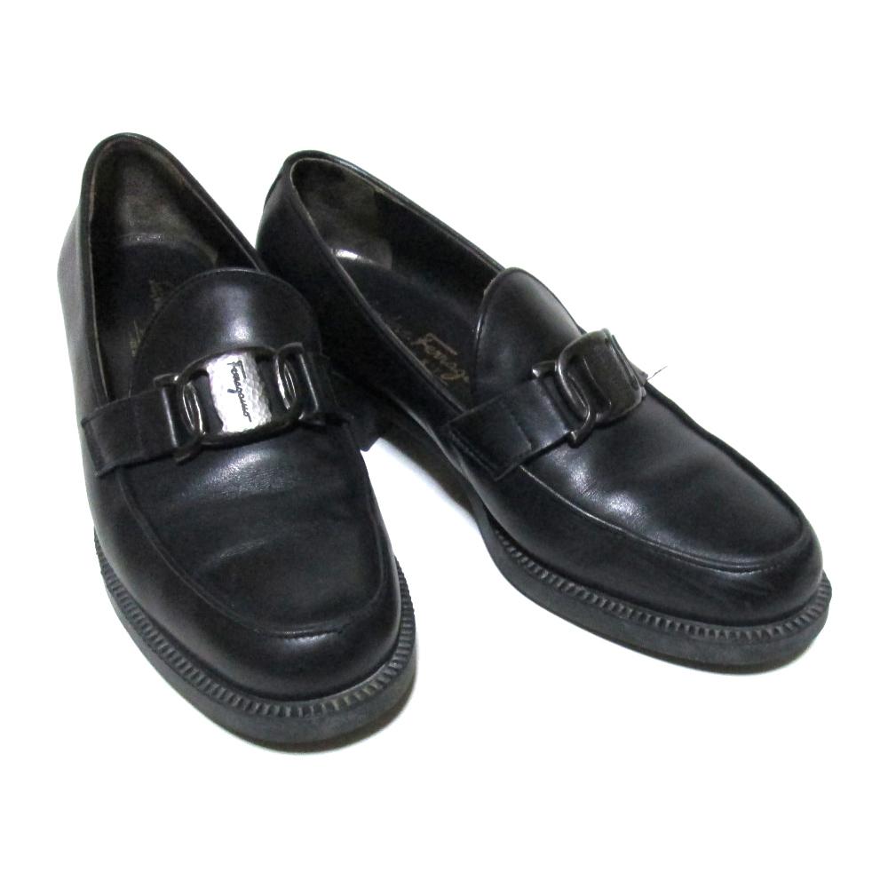Salvatore Ferragamo サルヴァトーレフェラガモ 「36」 イタリア製 ガンチーニレザーローファー (黒 皮 革 靴 パンプス シューズ) 124808 【中古】