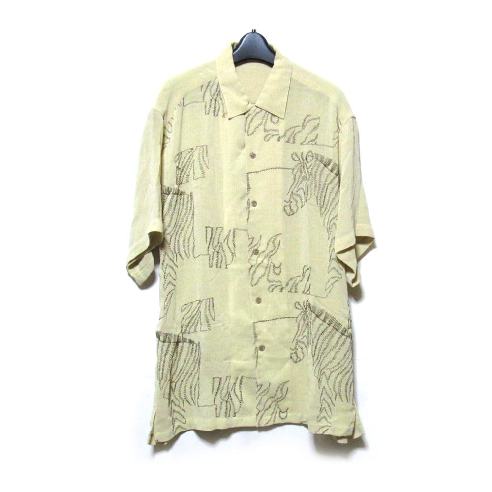 美品 Vintage LANCEL ヴィンテージ ランセル 「L」 ワイドシマウマ刺繍シャツ (半袖 ベージュ 動物 アロハ) 124812 【中古】