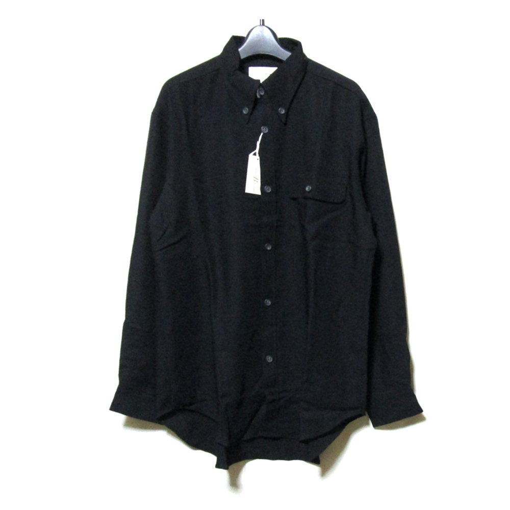 【新古品】 Vintage barreaux ヴィンテージ バルー 「48」 ギャバジンワイドシャツ (黒 ブラック 未使用) 124830 【中古】