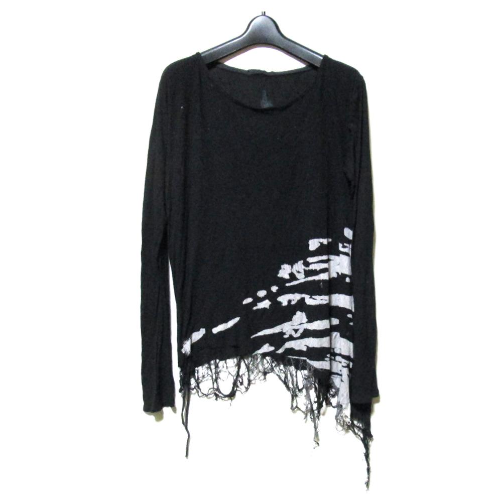 KMRii ケムリ 「3」 アシンメトリーグランジTシャツ (ロンTシャツ 黒 長袖 ) 124928 【中古】