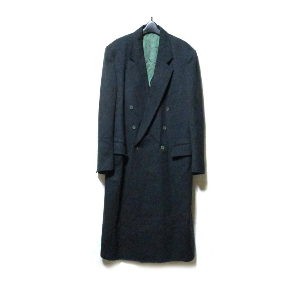 Vintage KENZO ヴィンテージ ケンゾー 「F」 ダブルブレスロングコート (カーキ 黒 マキシ丈) 125191 【中古】
