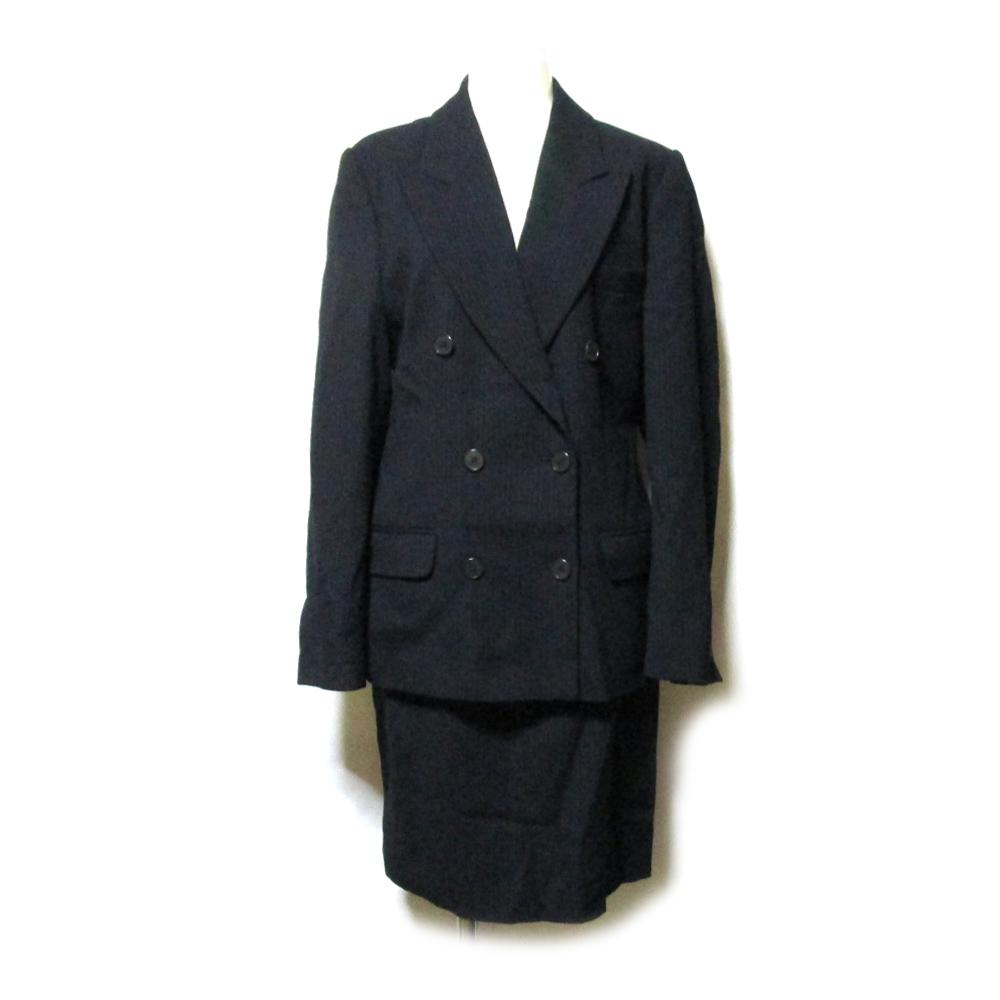美品 EMPORIO ARMANI エンポリオアルマーニ 「40」 イタリア製 ピンストライプダブルブレスセットアップスーツ (黒) 125213 【中古】
