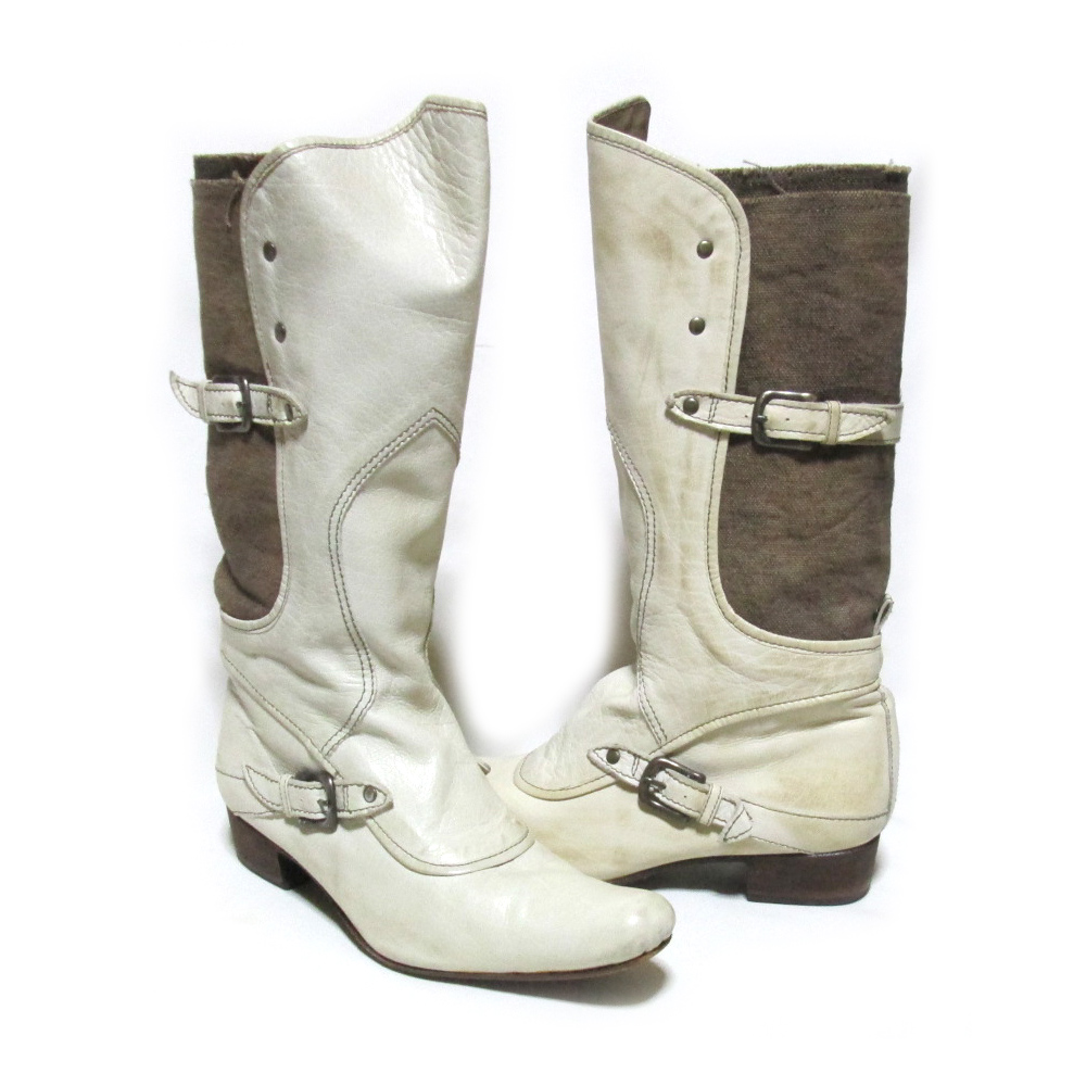 alfredoBANNISTER アルフレッドバニスター 「37」 レザー×キャンバスウエスタンロングブーツ (日本製 靴 シューズ) 125251 【中古】