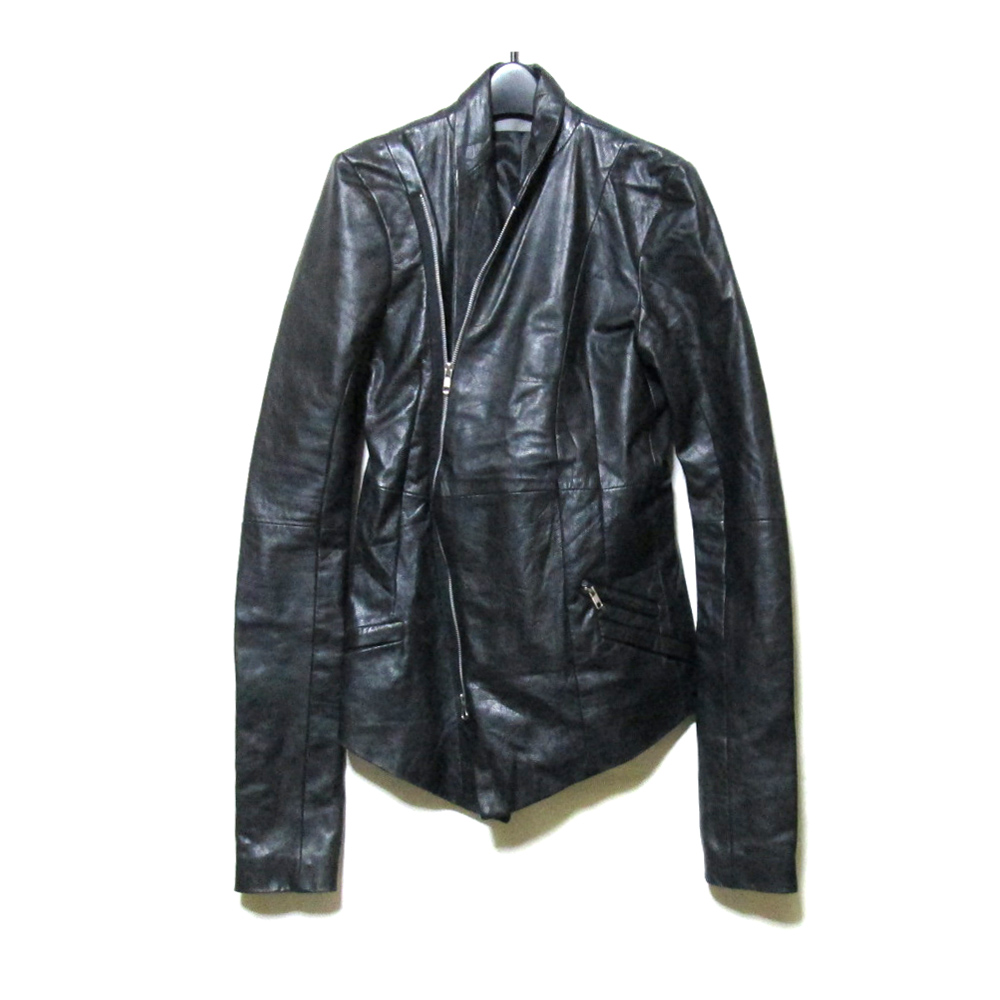 美品 EKAM エカム 「M」 アシンメトリーレザーライダースジャケット (黒 ブラック 革 皮) 125412 【中古】