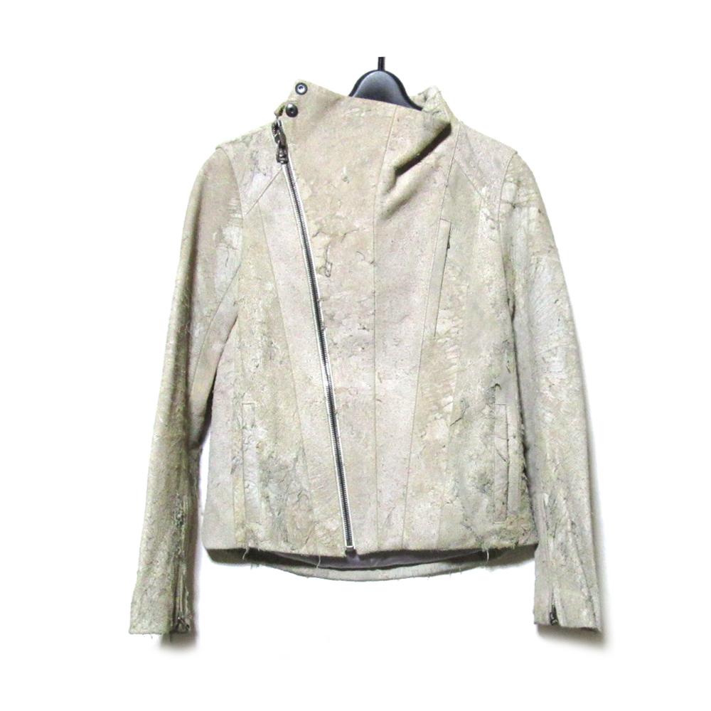 SISTERE システレ 「1」 クラックレザーライダースジャケット (白グレー 革 皮 日本製) 125414 【中古】
