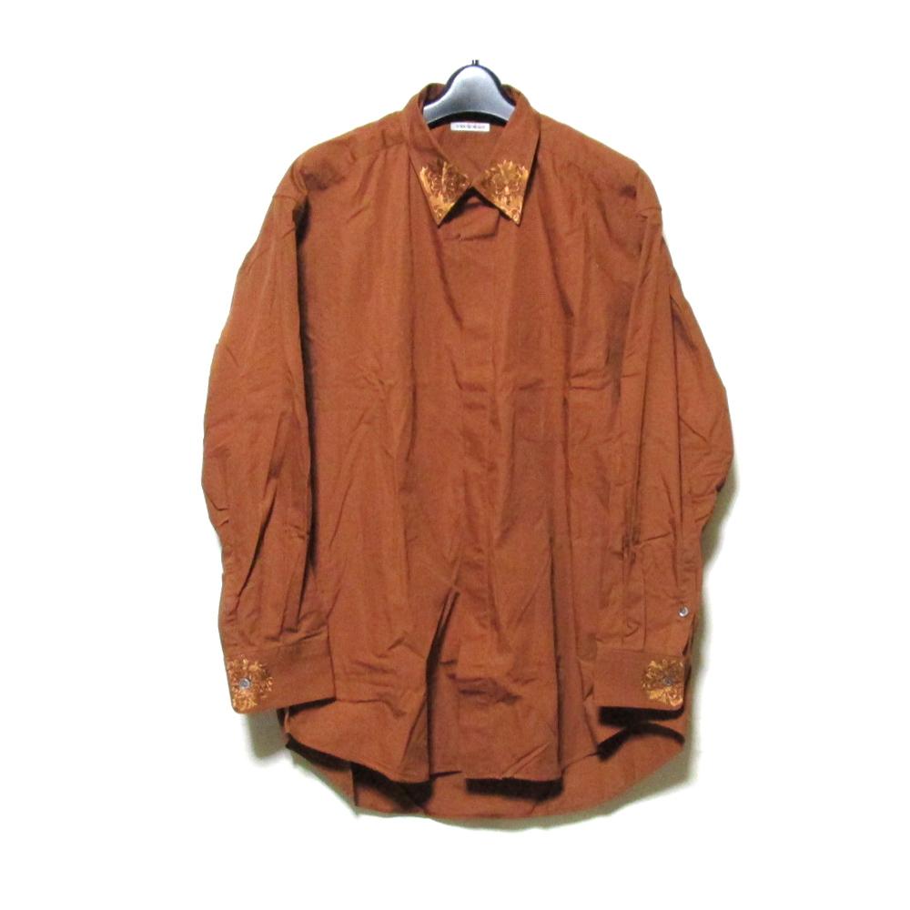 Vintage TOKIO KUMAGAI ヴィンテージ トキオクマガイ 「M」 刺繍カラーワイドシャツ (HOMME オム ブラウン) 125515 【中古】