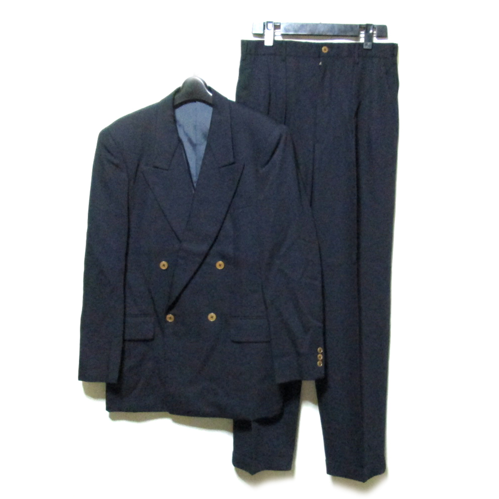 Vintage TAKEO KIKUCHI ヴィンテージ タケオキクチ 「2」 ダブルブレスセットアップスーツ (紺 ネイビー バブル) 125529 【中古】