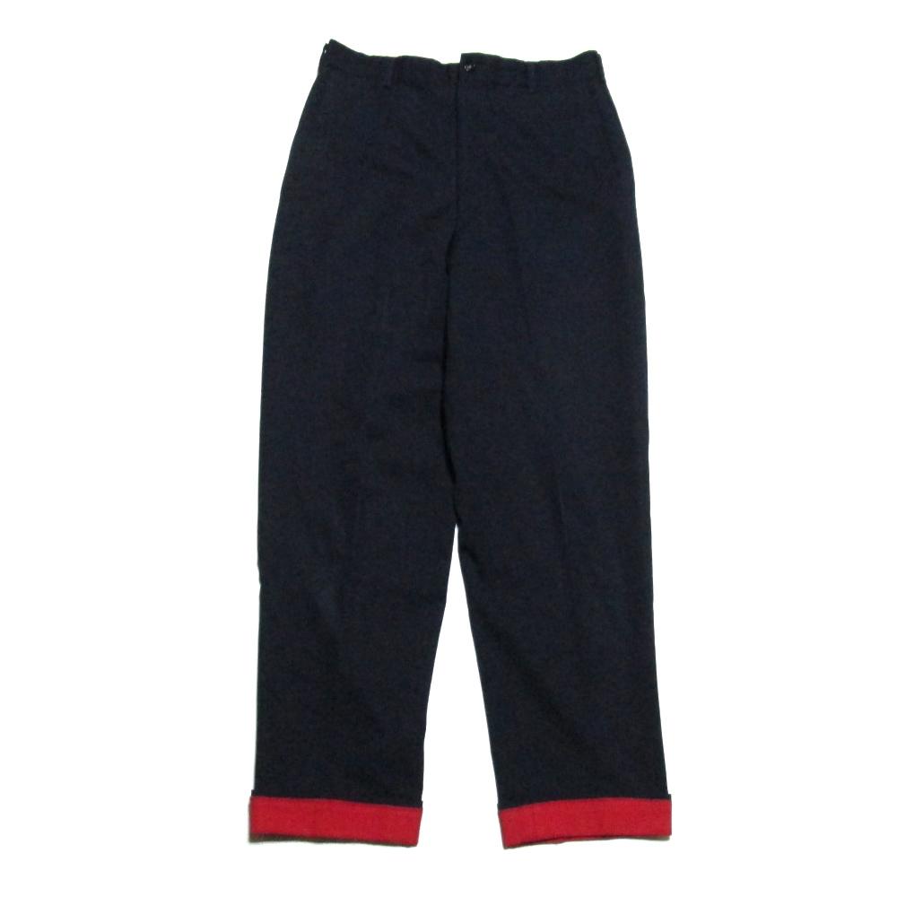 COMME des GARCONS HOMME コムデギャルソン オム 「M」 1997 折り返しデザインパンツ (紺 赤) 125538 【中古】