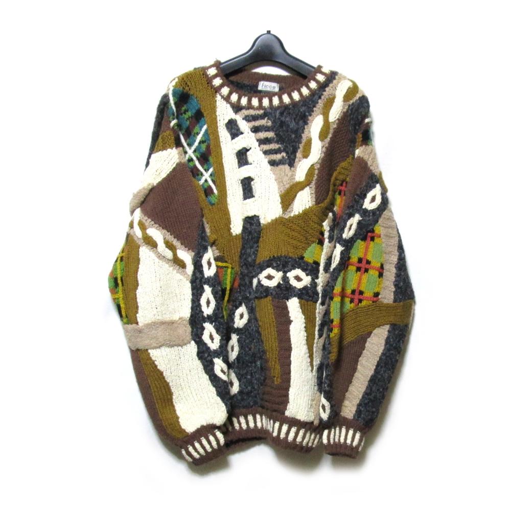 Vintage YOSHIYUKI KONISHI FICCE ヨシユキヨニシ フィッチェ アートデザインハンドニットセーター (ドン小西) 125564 【中古】
