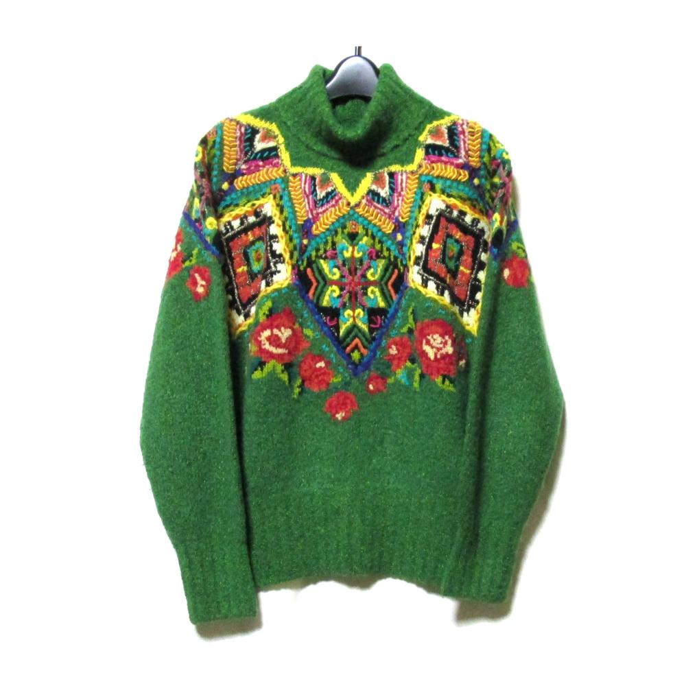 美品 Vintage YOSHIYUKI KONISHI FICCE ヨシユキヨニシ フィッチェ アートデザインハンドニットセーター (ドン小西) 125565 【中古】