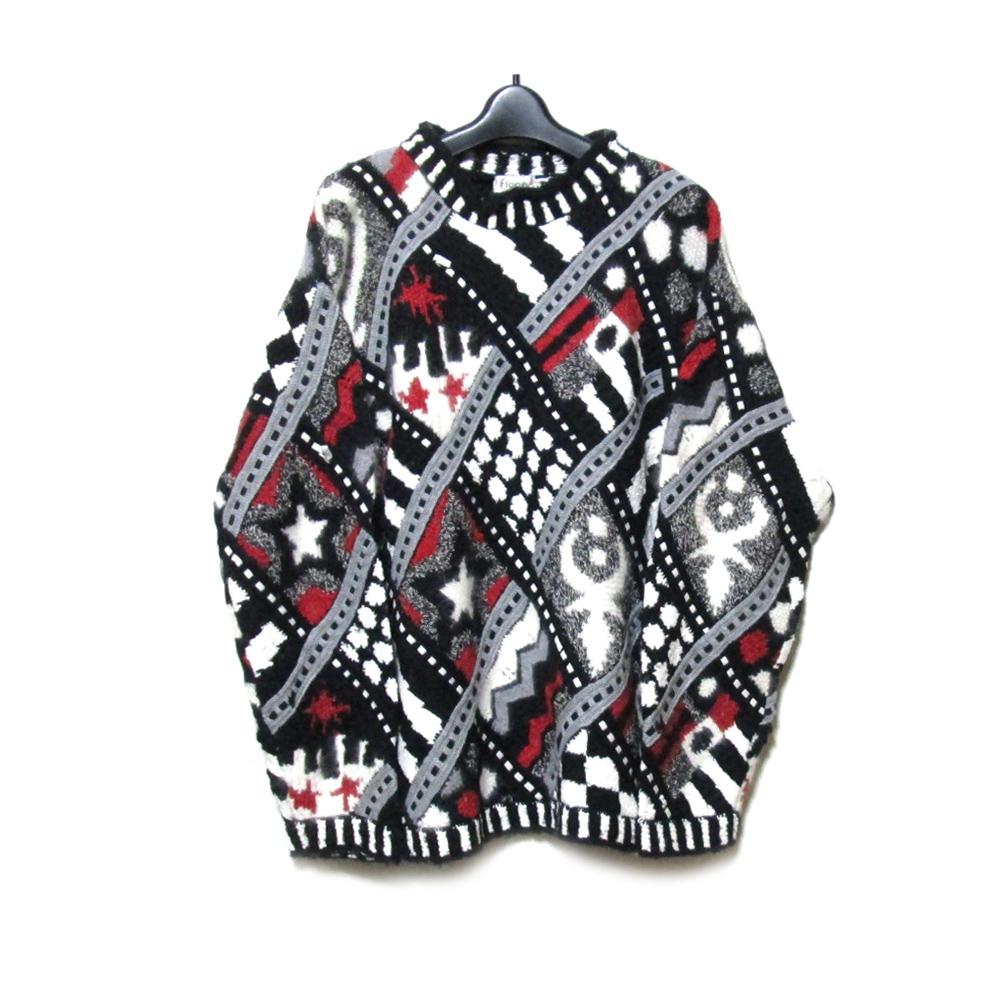 美品 Vintage YOSHIYUKI KONISHI FICCE ヨシユキヨニシ フィッチェ 「1」 アートデザインハンドニットセーター (ドン小西) 125566 【中古】
