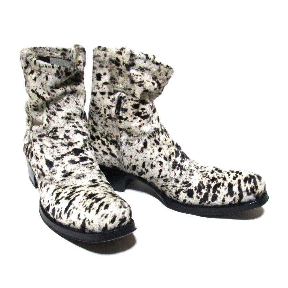 gianni barbato ジャンニバルバート 「41」 イタリア製 ハラコレザーサイドジップブーツ (革 皮 靴) 125635 【中古】