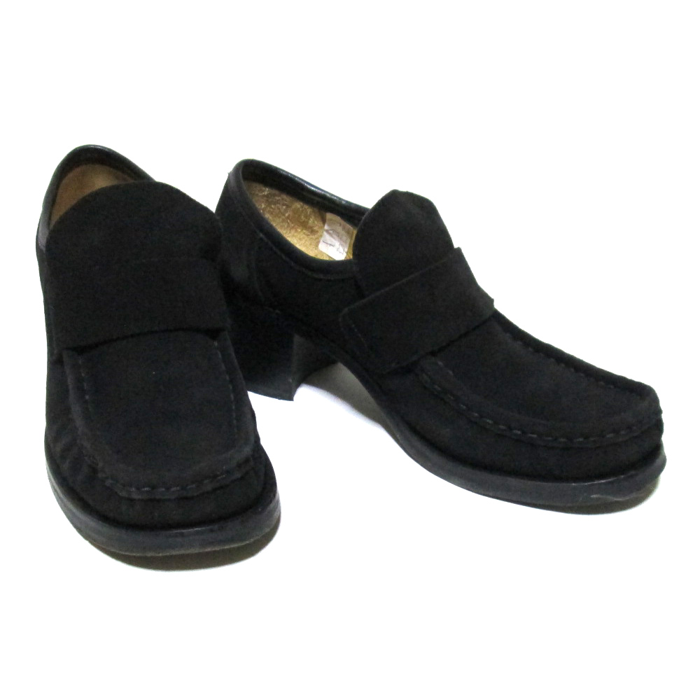 税込\3980以上購入で 送料無料 PATRICK COX パトリックコックス 37 商品追加値下げ在庫復活 ヌバックレザーヒールシューズ 高級な 黒 皮 革 中古 125920 靴