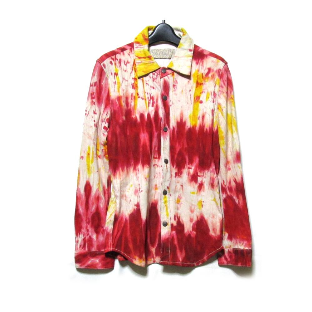 美品 Gardenia ガーデニア 「M」 ウオッシャブルレザーペイントシャツジャケット (羊革) 125928 【中古】