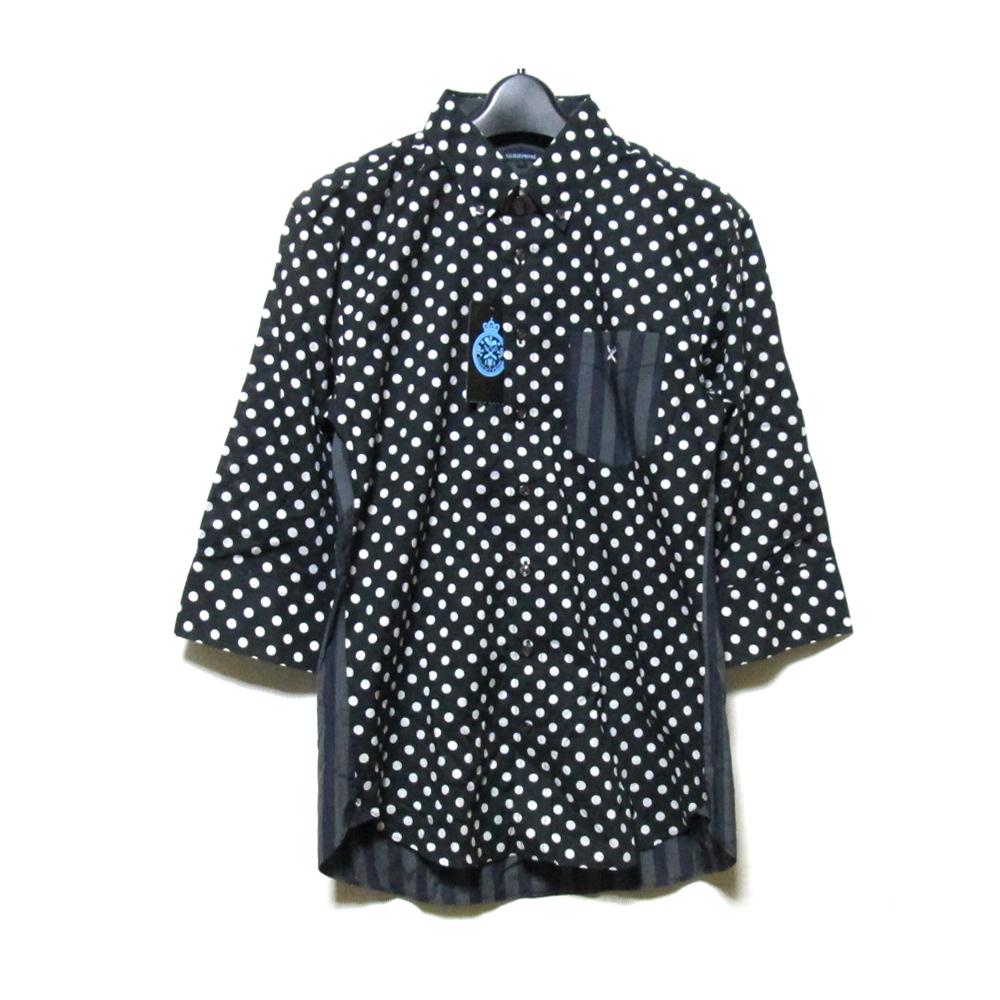 【新古品】 GUILD PRIME ギルドプライム 「1」 ロカビリードットシャツ (黒 ブラック 水玉 ) 125941 【中古】