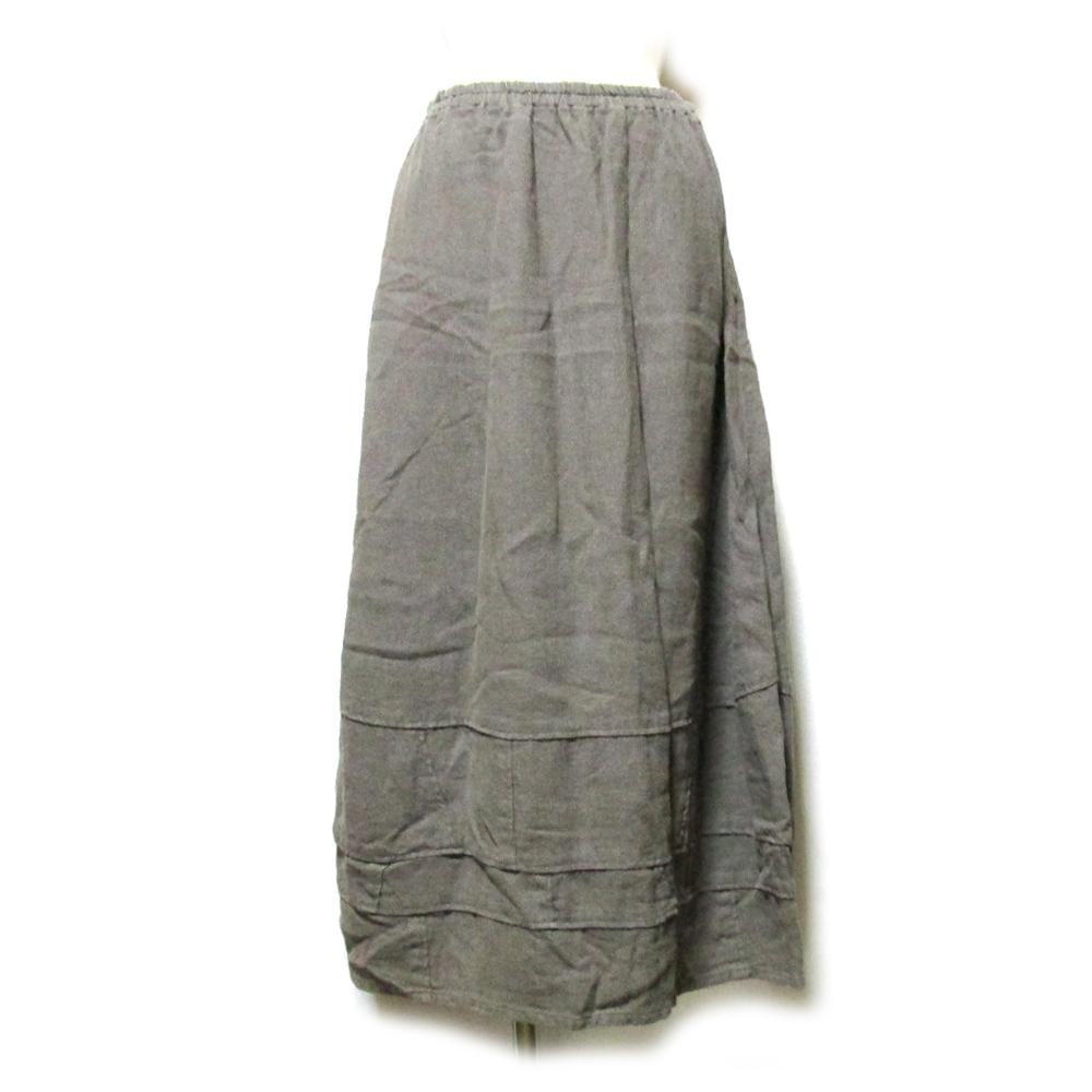 Tomi Iwamiginzan gungendou 登美 石見銀山 群言堂 リネンバルーンスカート (麻 日本製 Made in Japan) 125969 【中古】