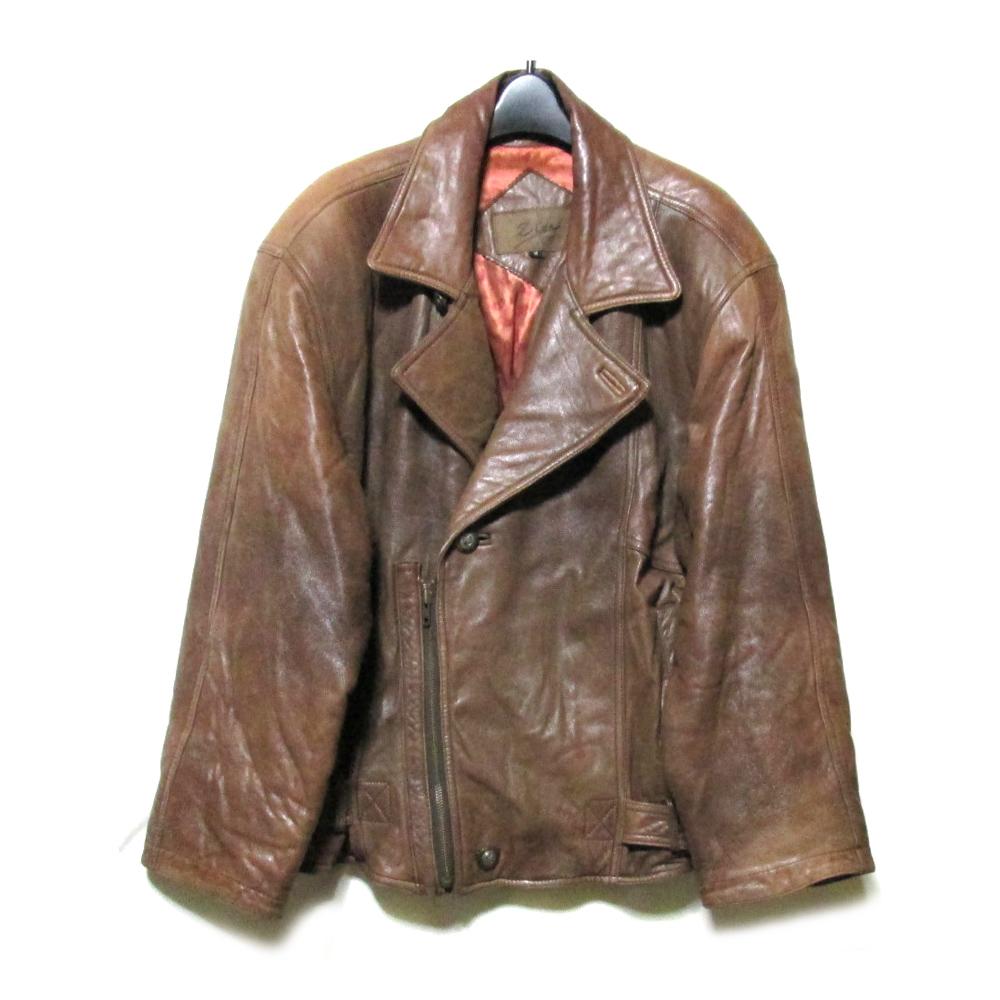 Vintage Zioa ヴィンテージ ジオア 「M」 イタリアンデザインレザーライダースジャケット (ブラウン 革 皮 ) 126307 【中古】