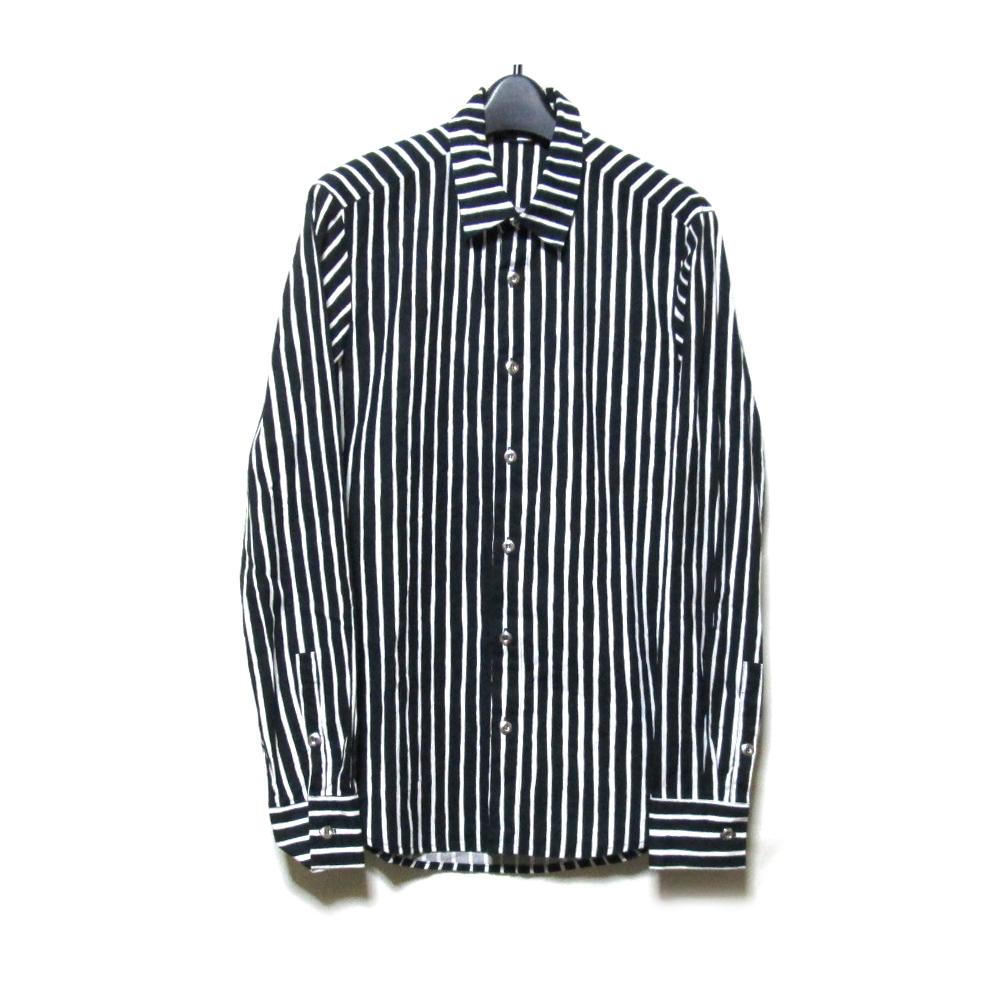 Marimekko マリメッコ 「XS」 ハンドストライプファブリックシャツ (黒 ブラウス) 126328 【中古】