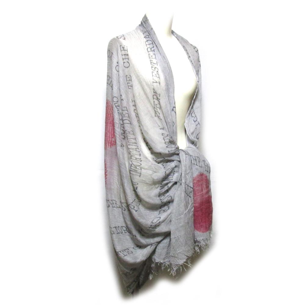 Faliero Sarti ファリエロサルティ イタリア製 アートシルクワイドショール (マフラー 絹 ウール) 126336 【中古】