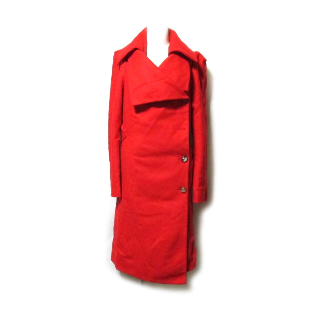 Vivienne Westwood ヴィヴィアンウエストウッド 「38」 イタリア製 アシンメトリードレープロングコート (赤 ORB オーブ) 126609 【中古】