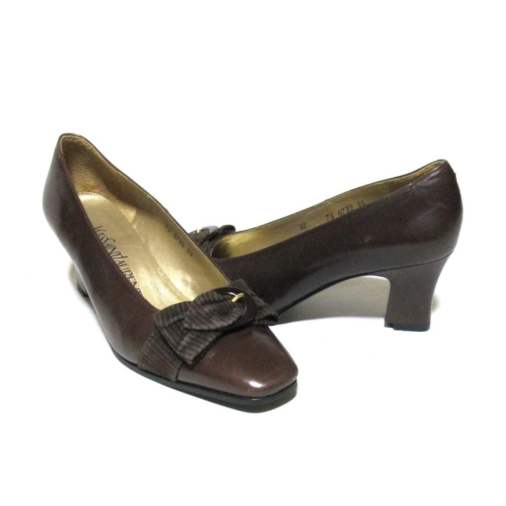 Vintage Yves Saint Laurent イヴサンローラン 「35」 リボンヒールレザーパンプス (ブラウン 靴 シューズ) 126614 【中古】