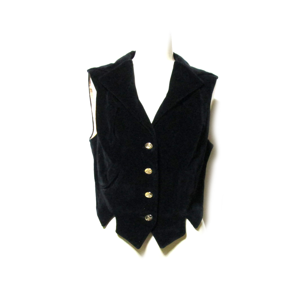 Vivienne Westwood ヴィヴィアンウエストウッド 「42」 イタリア製 ベロアベストジャケット (ヴィンテージ 黒 プリンセス) 126907 【中古】
