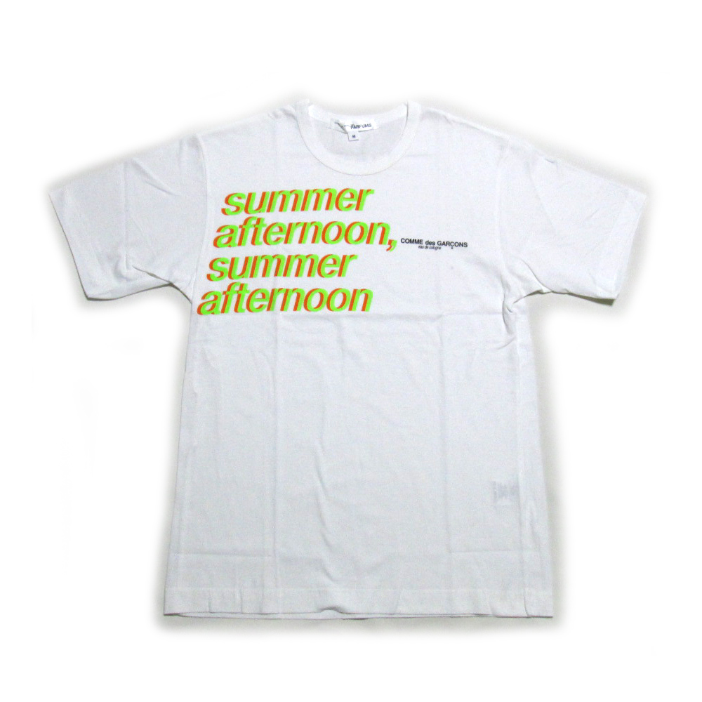 COMME des GARCONS PARFUMS コムデギャルソン パルファム 「M」 限定 Summer Afternoon Tシャツ (白 ロゴ 半袖) 127658 【中古】