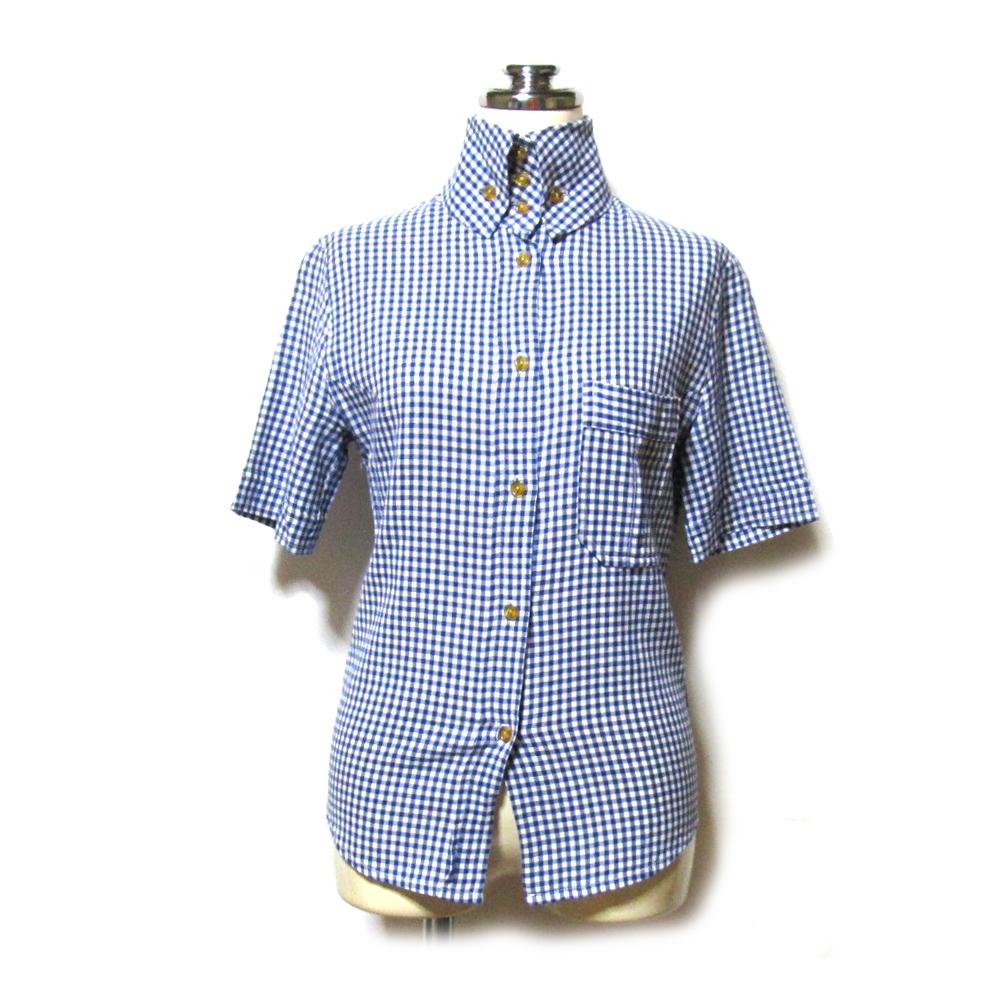 美品 Vivienne Westwood ヴィヴィアンウエストウッド 「8」 イギリス製 高襟ブラウス (ギンガムチェック 半袖 シャツ) 128211 【中古】