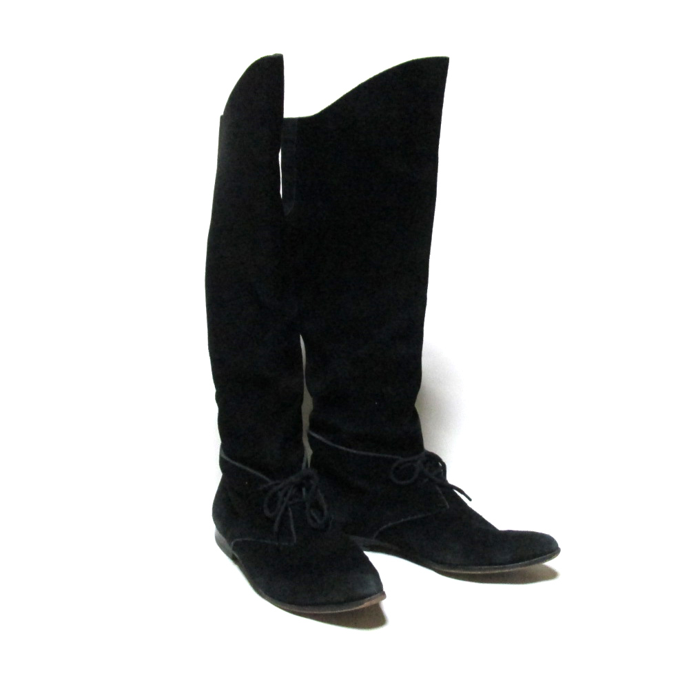 税込\3980以上購入で 送料無料 海外並行輸入正規品 廃盤 Jean Paul GAULTIER ジャンポールゴルチエ 2 1 皮 (人気激安) 中古 革 ヌバック スエードレザーロングブーツ ゴルチェ 129164 靴