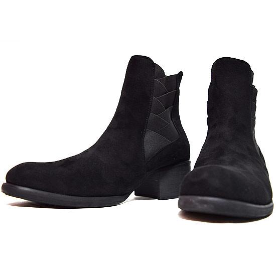 サイドゴアブーツ メンズ ミリタリーブーツ スウェード調 ブーツ ハイヒール 6cm 脚長 足長 美脚 ミドルブーツ 男 靴 個性的 V系 ビジュアル系 ストリート系 モード系 ファッション スタイル ホスト 30代 40代 大人 衣装 ブラック 黒 ハイセンス
