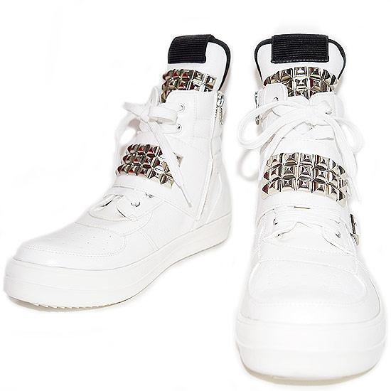 スタッズシューズ メンズ ハイカットスニーカー スタッズスニーカー 男 靴 個性的 V系 ビジュアル系 ストリート系 モード系 ファッション スタイル ホスト 30代 40代 大人 衣装 ホワイト 白 ユニセックス