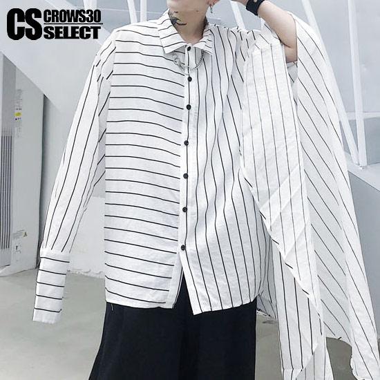 シャツ メンズ ストライプシャツ ボーダーシャツ バイカラーシャツ ポンチョ インポート ロング丈 2019 春 新作 トップス 個性的 キレイ目 ホスト V系 ビジュアル系 ストリート系ファッション モード系ファッション 衣装 ユニセックス レディース ホワイト 白 ブラック 黒