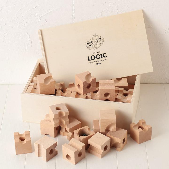 木製立体パズル【LOGIC ロジック (56パーツ入)】 / 立体パズル 56ピース 収納ボックス付き 知育玩具 積み木 誕生日 お祝い ギフト プレゼント (ネコポス不可) 5000円以上