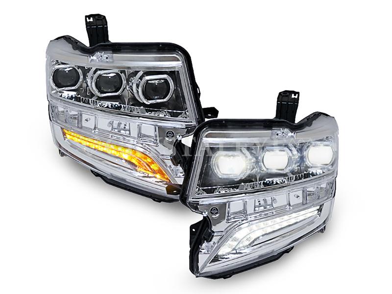 N-BOXカスタム JF1/JF2 フルLED3眼 ヘッドライト流れるシーケンシャルウインカータイプクリスタルアイ 【クロームタイプ】カプラーオンでHIDからフルLEDに