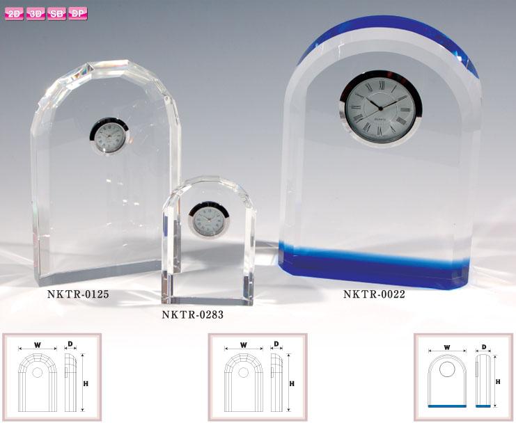 クリスタル置時計 ブルー